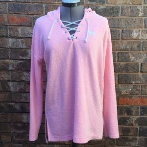 VS PINK pink terrycloth hoodie, small